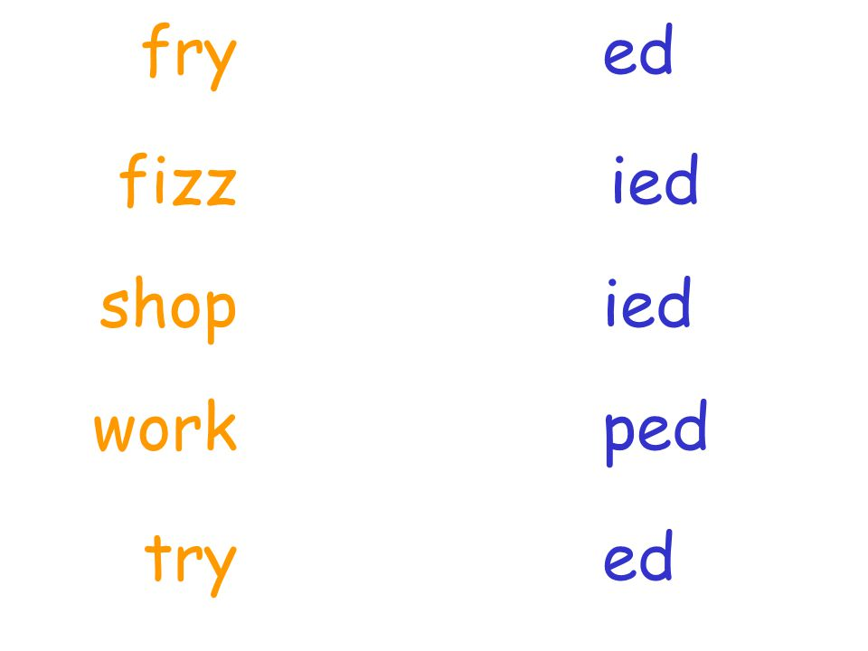 fry ed fizz ied shop ied work ped try ed