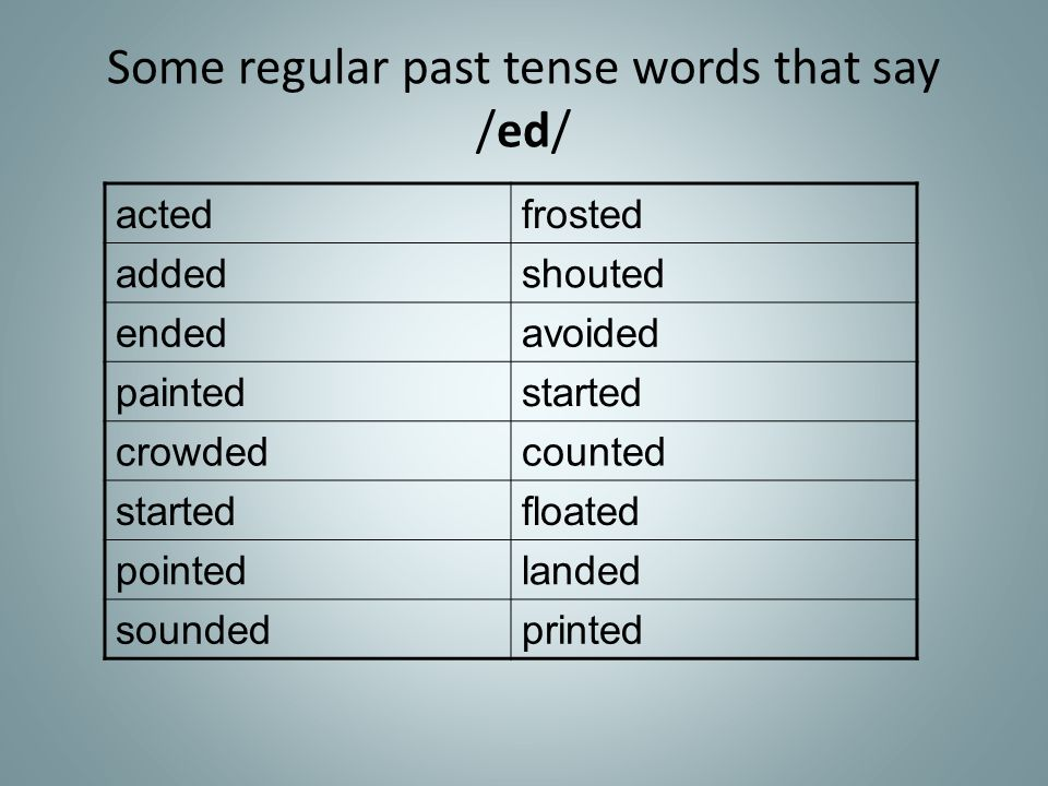 Some regular past tense words that say /ed/