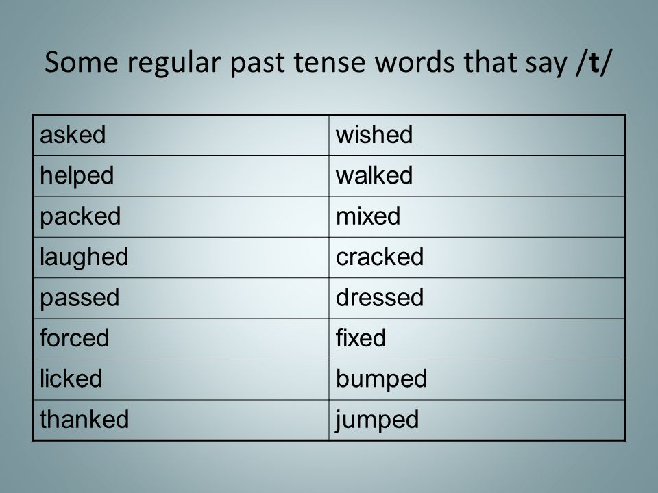 Some regular past tense words that say /t/