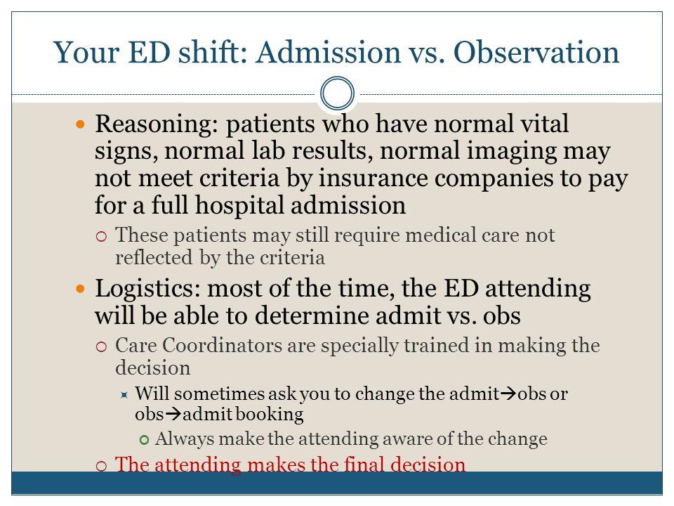 Your ED shift: Admission vs. Observation
