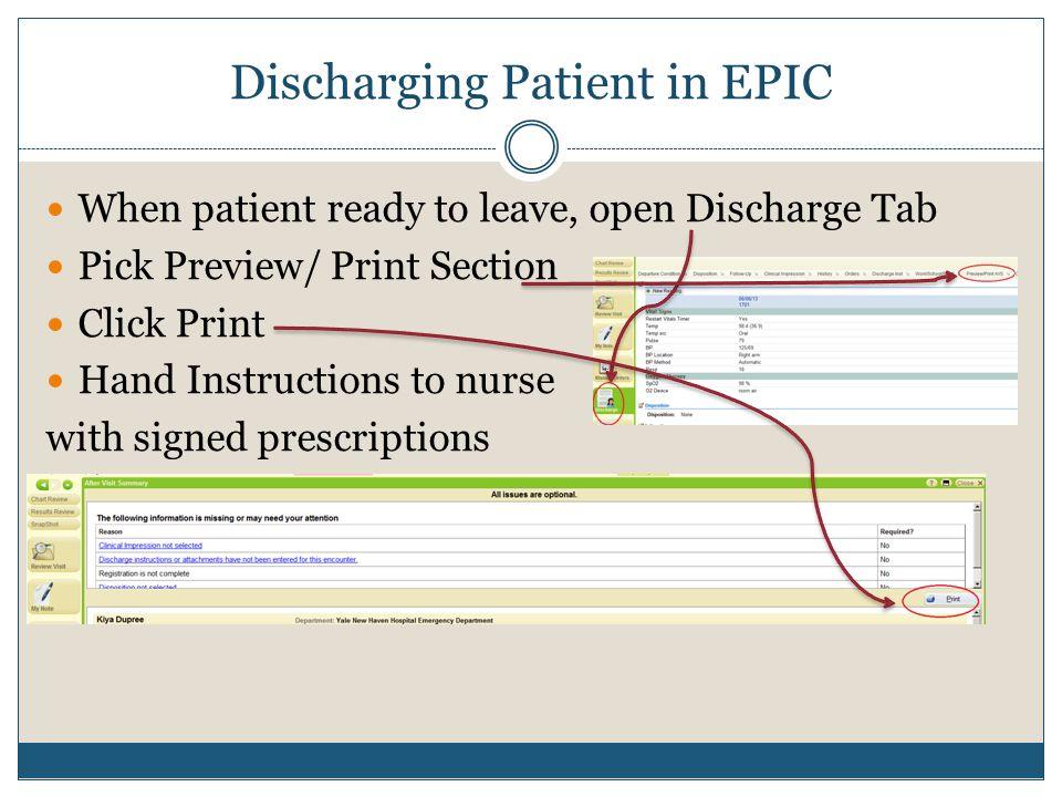 Discharging Patient in EPIC