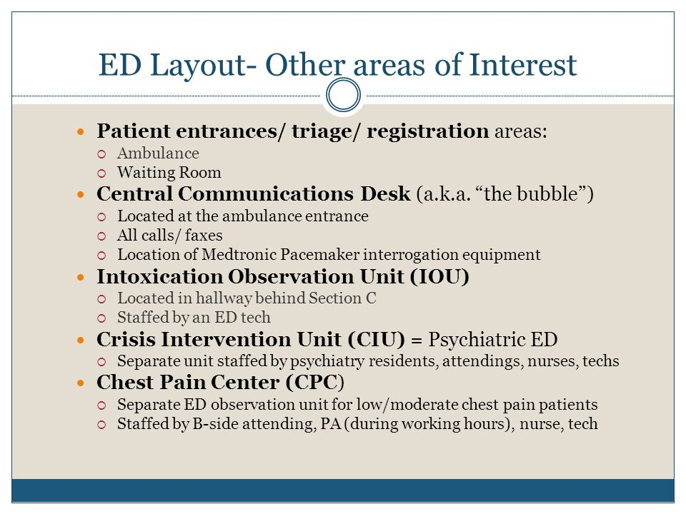 ED Layout- Other areas of Interest