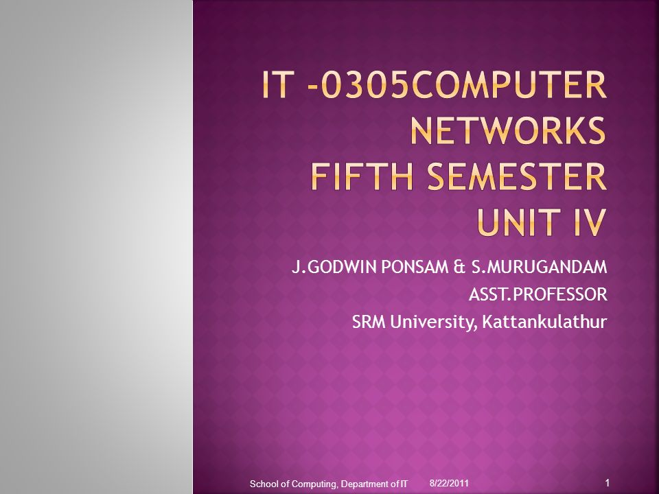 IT -0305COMPUTER NETWORKS FIFTH SEMESTER UNIT Iv