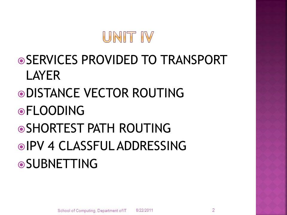 Unit iv SERVICES PROVIDED TO TRANSPORT LAYER DISTANCE VECTOR ROUTING