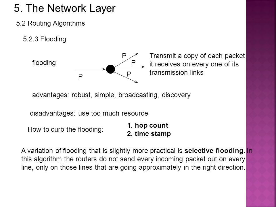 5. The Network Layer 5.2 Routing Algorithms Flooding P