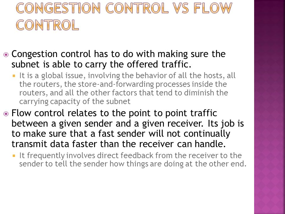 Congestion control vs Flow control