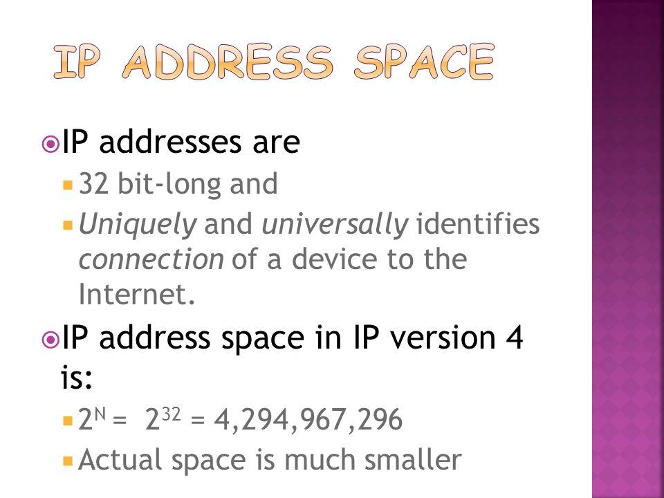 IP Address Space IP addresses are IP address space in IP version 4 is: