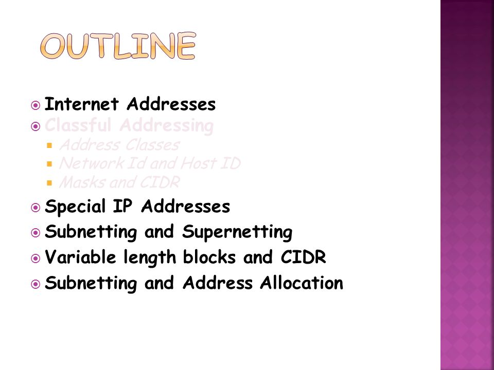 Outline Internet Addresses Classful Addressing Special IP Addresses