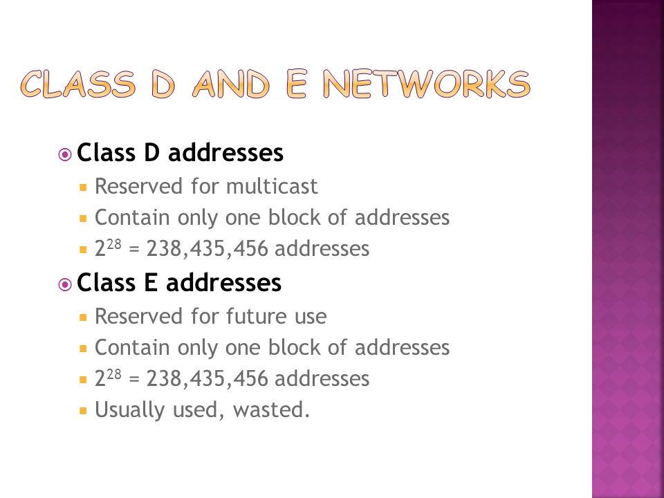 Class D and E Networks Class D addresses Class E addresses