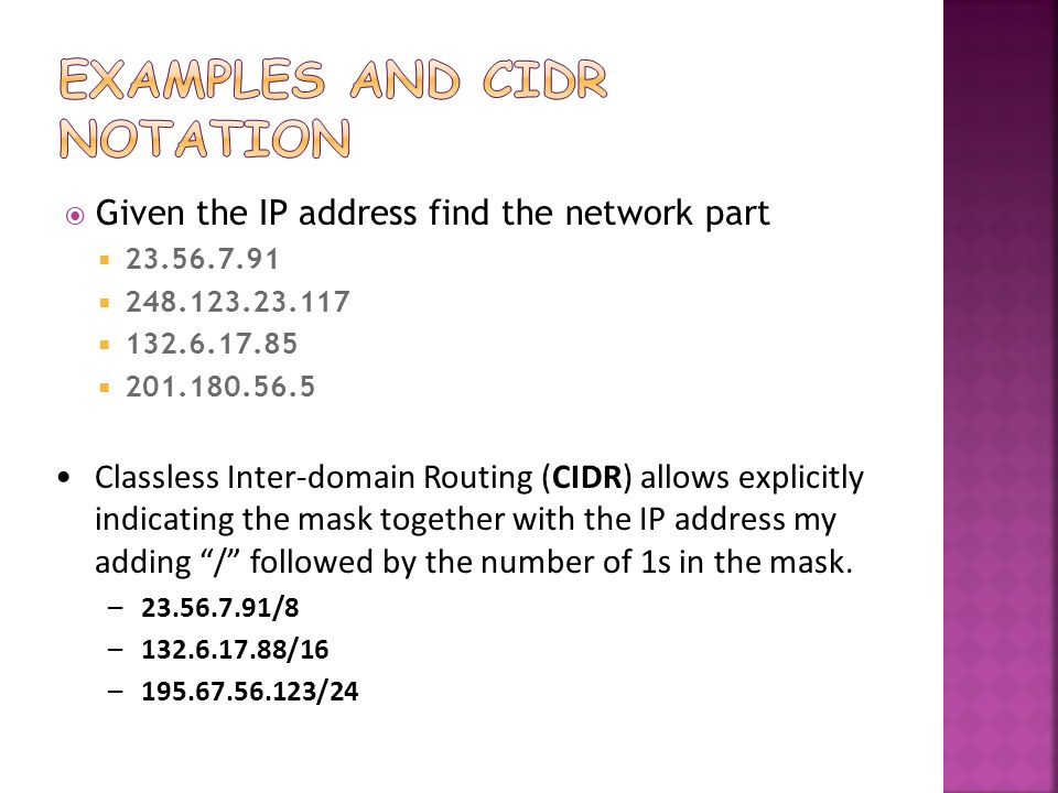 Examples and CIDR notation
