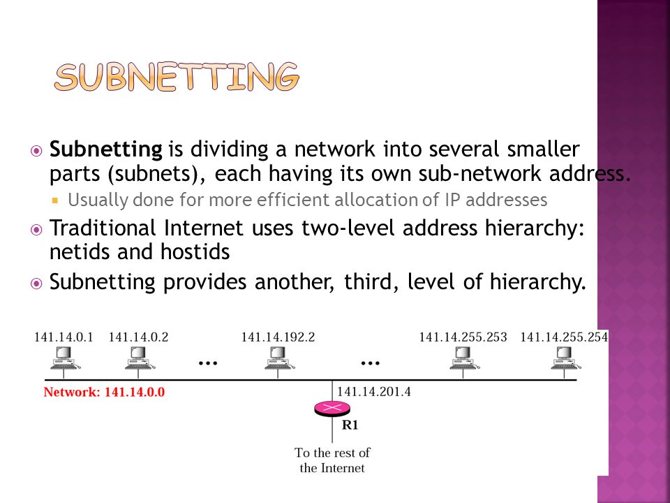 Subnetting Subnetting is dividing a network into several smaller parts (subnets), each having its own sub-network address.