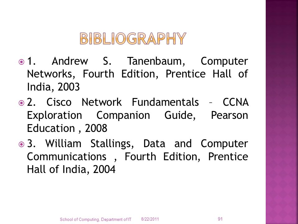 bibliography 1. Andrew S. Tanenbaum, Computer Networks, Fourth Edition, Prentice Hall of India,