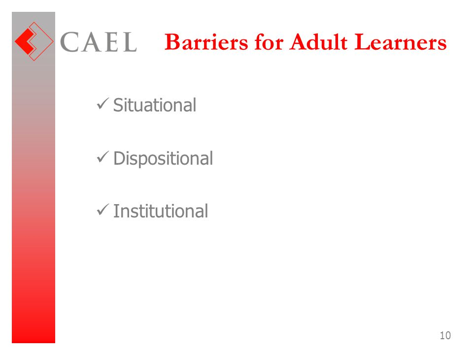 Barriers for Adult Learners