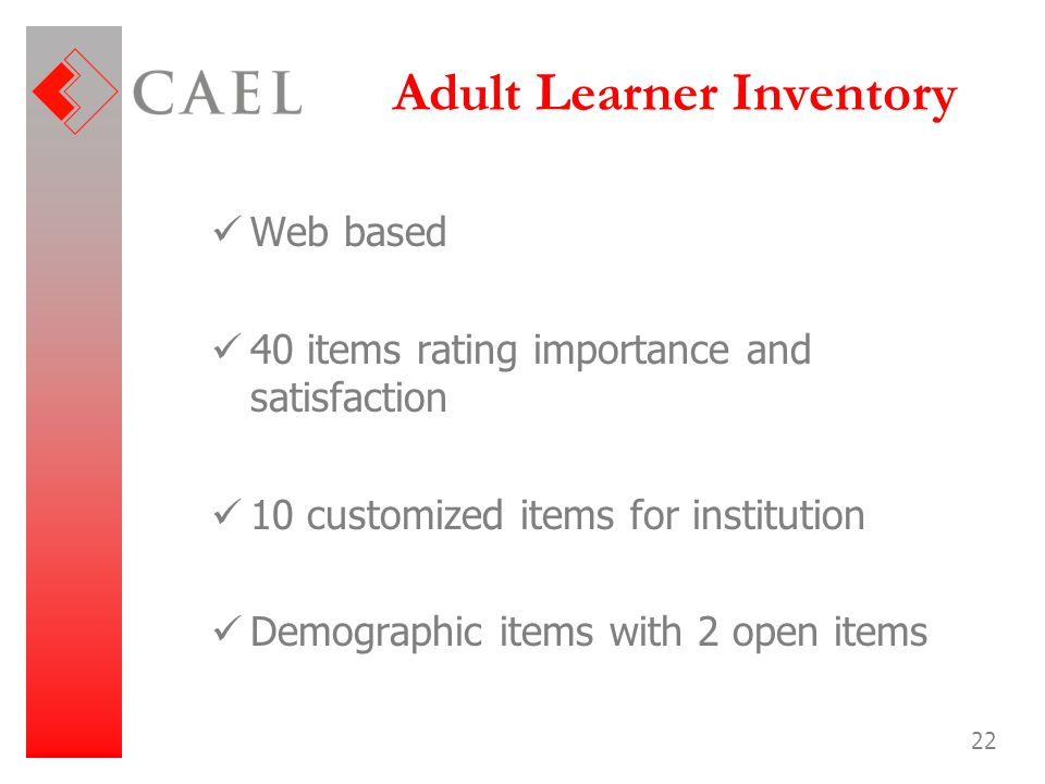 Adult Learner Inventory