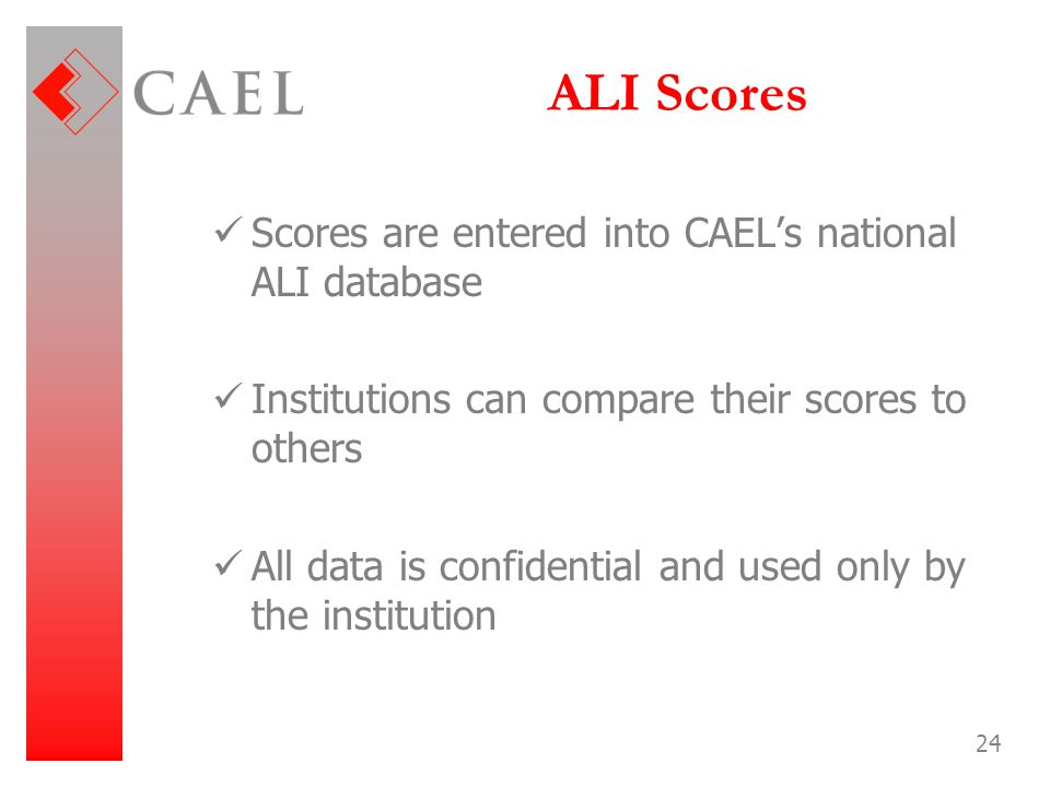 ALI Scores Scores are entered into CAEL's national ALI database