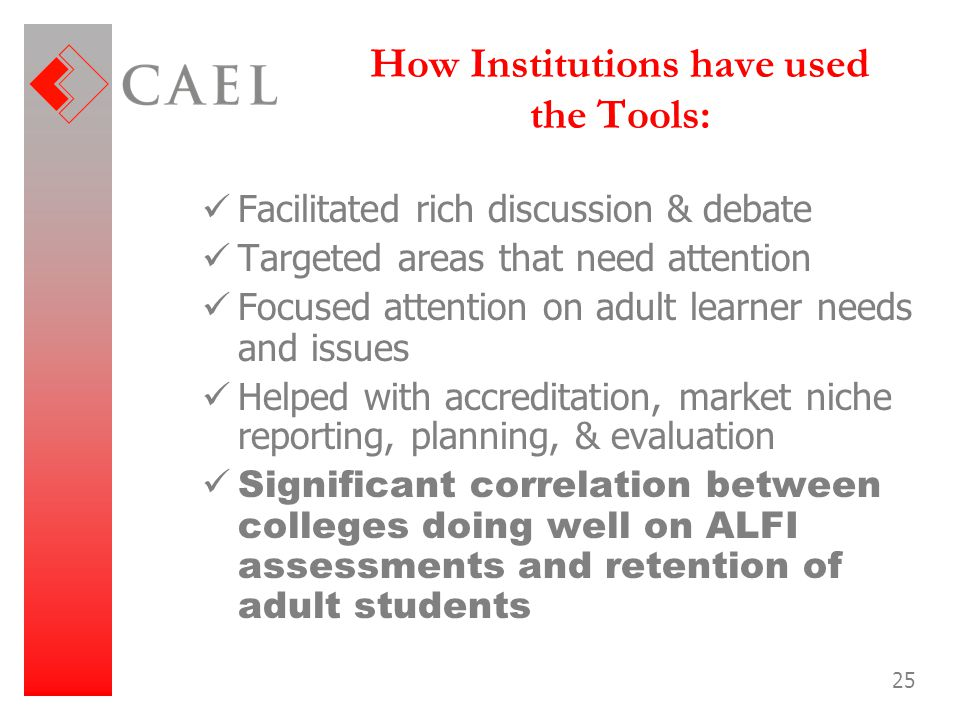How Institutions have used the Tools: