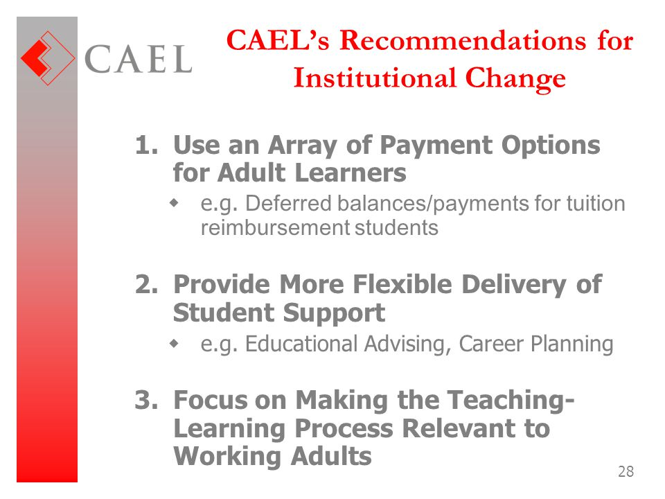 CAEL's Recommendations for Institutional Change