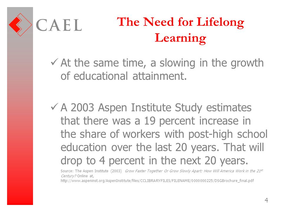 The Need for Lifelong Learning