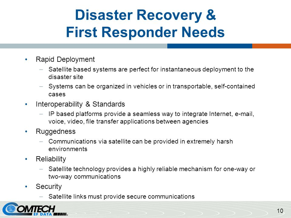 Disaster Recovery & First Responder Needs