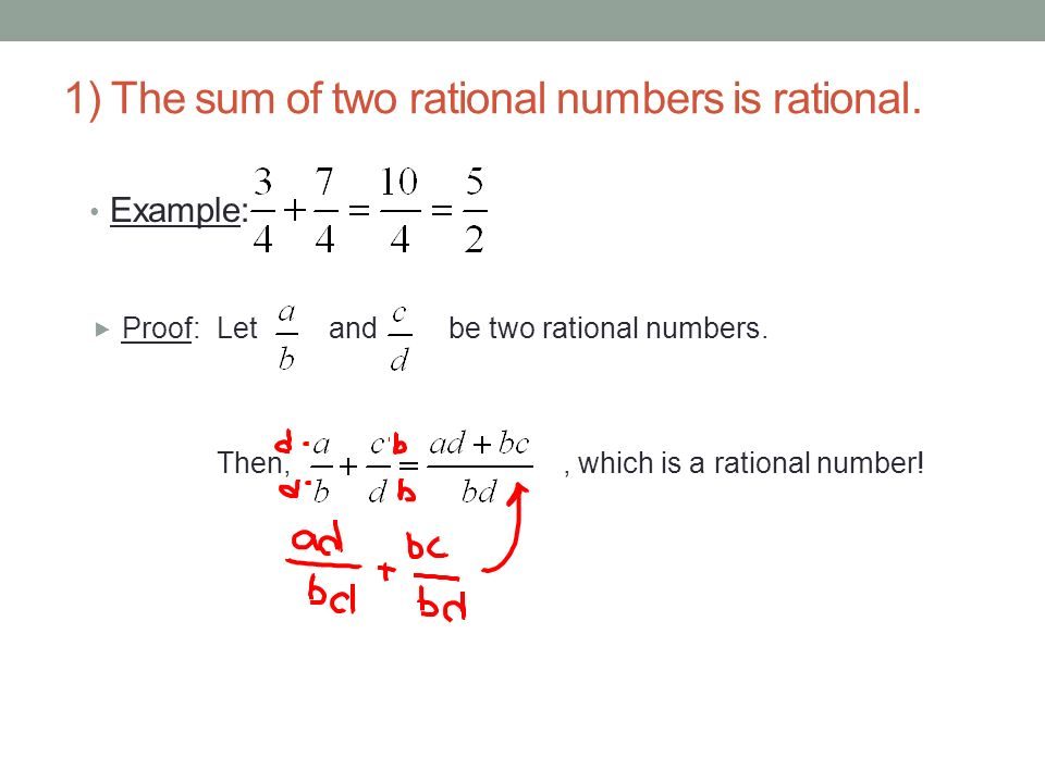 1) The sum of two rational numbers is rational.