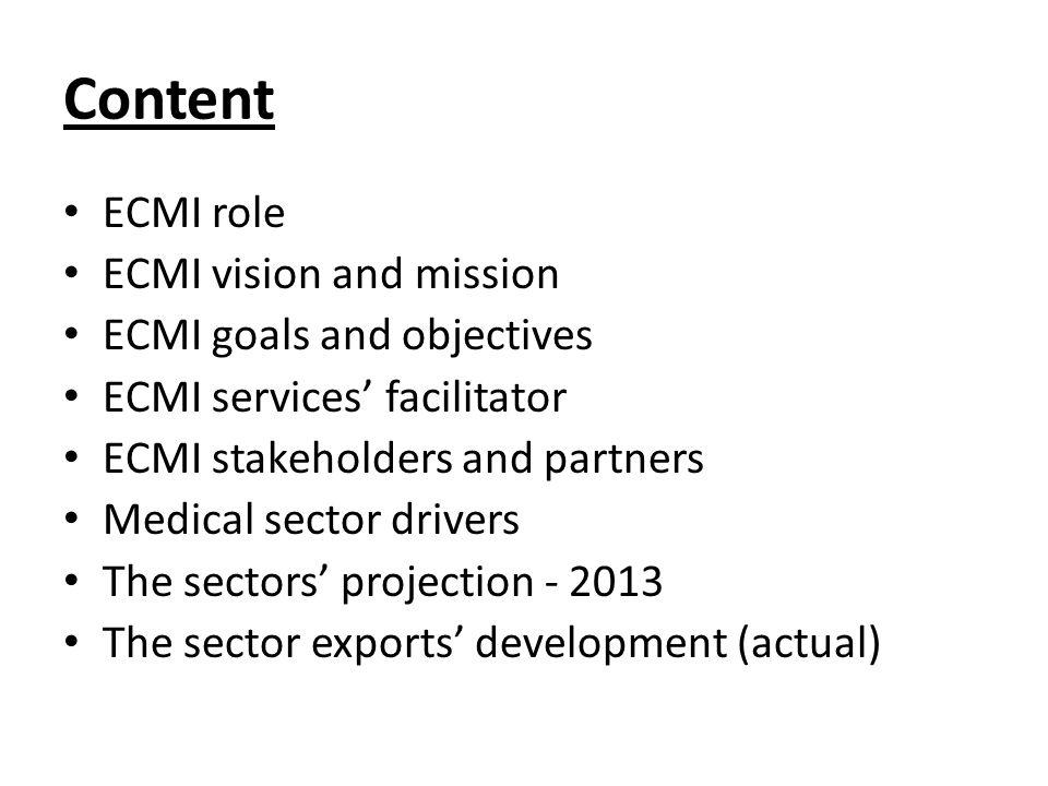 Content ECMI role ECMI vision and mission ECMI goals and objectives