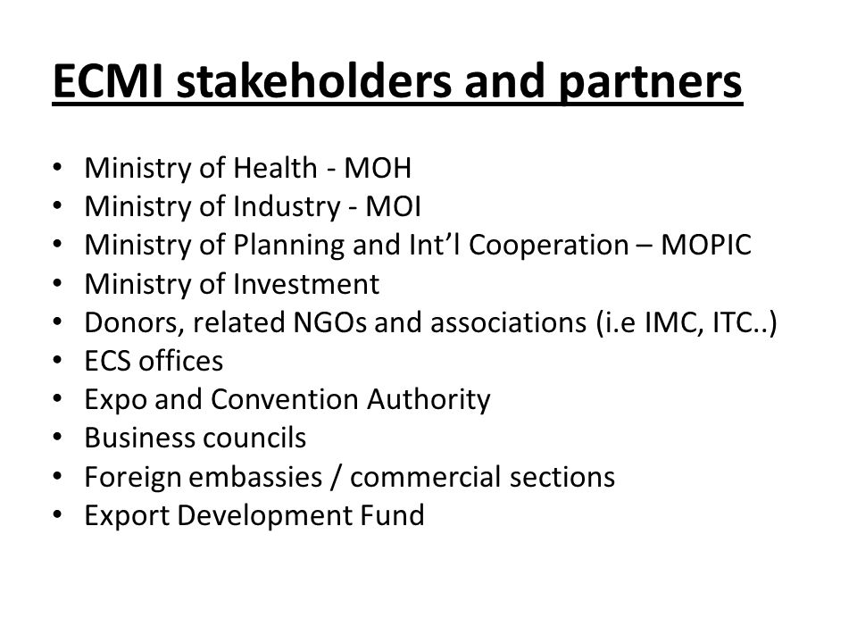 ECMI stakeholders and partners