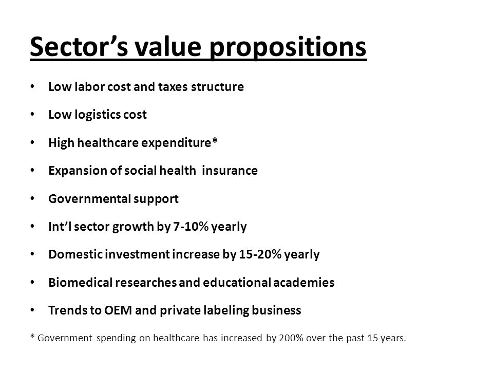 Sector's value propositions