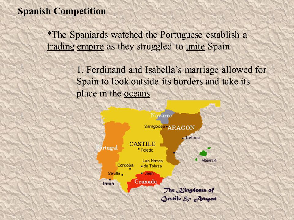 Spanish Competition *The Spaniards watched the Portuguese establish a trading empire as they struggled to unite Spain.