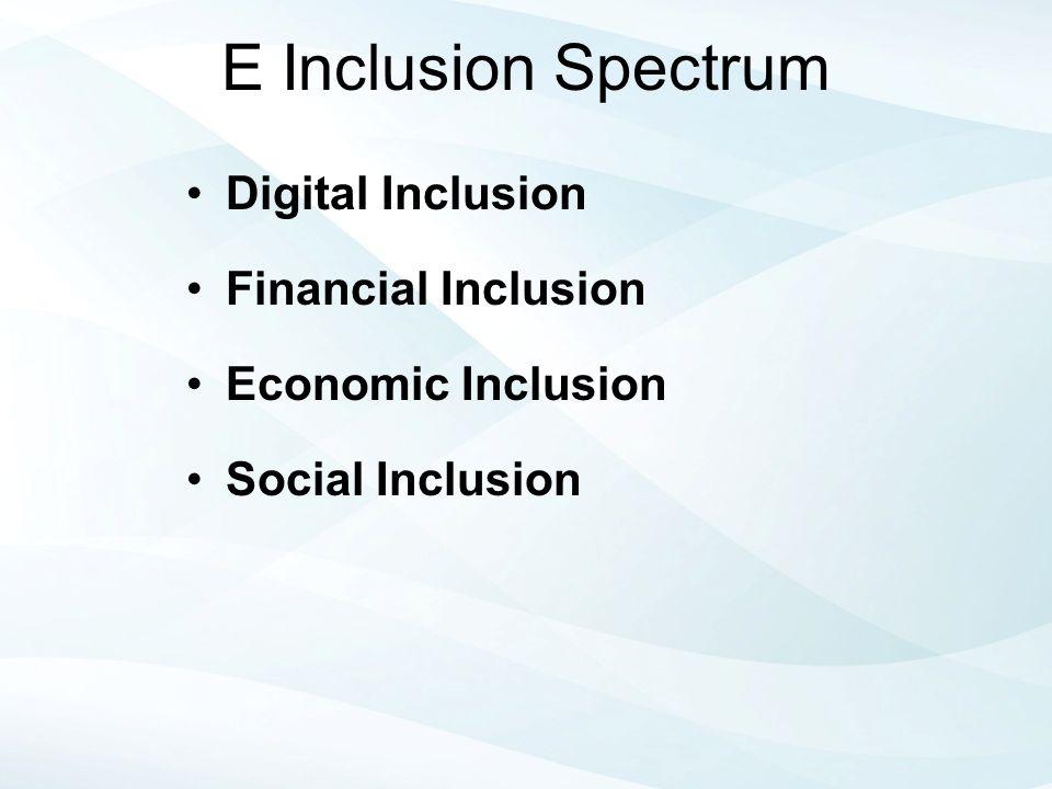 E Inclusion Spectrum Digital Inclusion Financial Inclusion