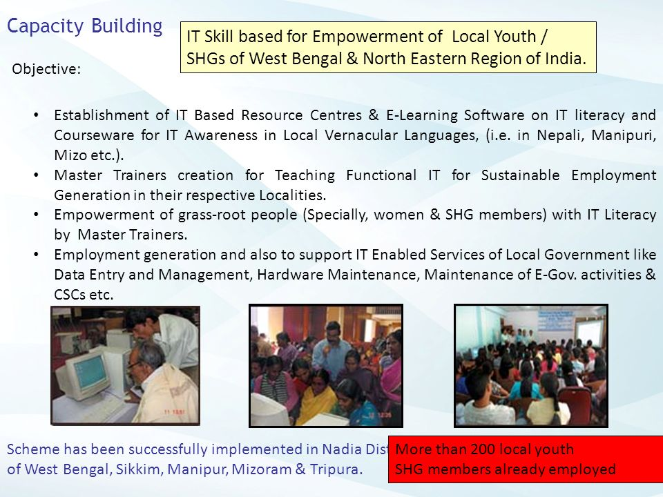 Capacity Building IT Skill based for Empowerment of Local Youth / SHGs of West Bengal & North Eastern Region of India.