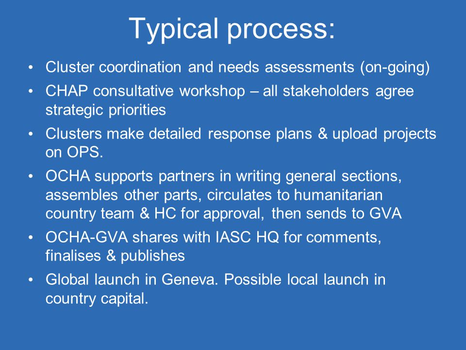 Typical process: Cluster coordination and needs assessments (on-going)