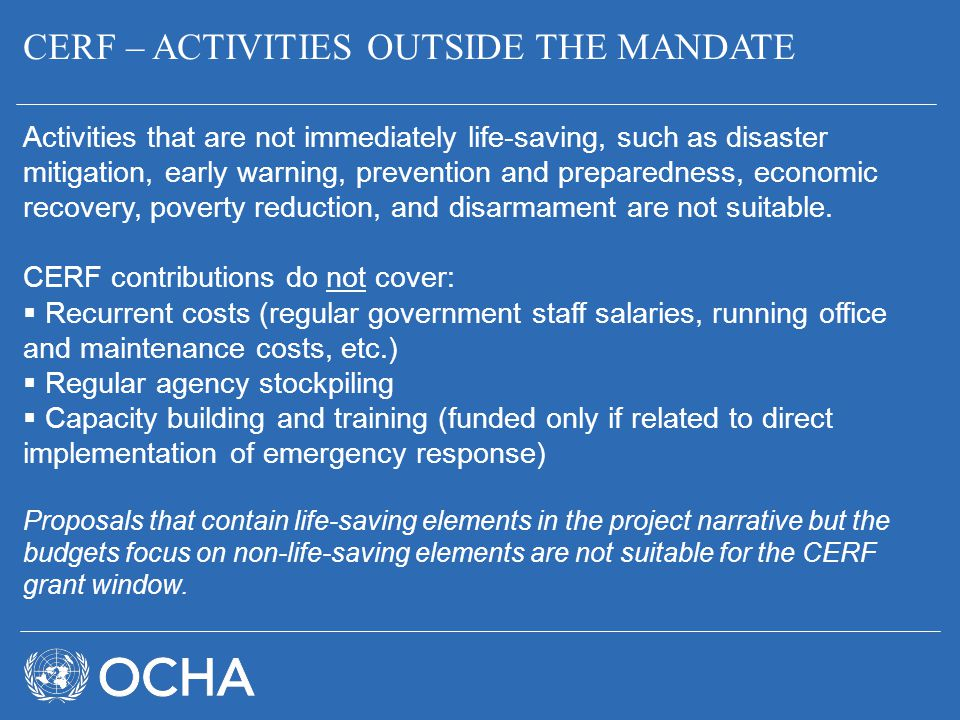 CERF – ACTIVITIES OUTSIDE THE MANDATE
