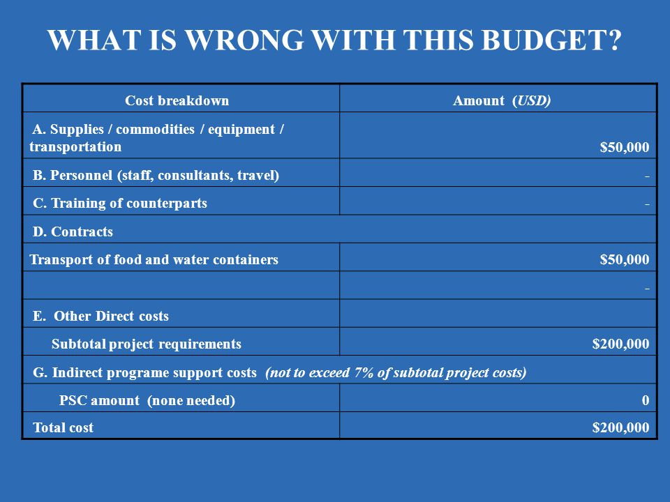 WHAT IS WRONG WITH THIS BUDGET