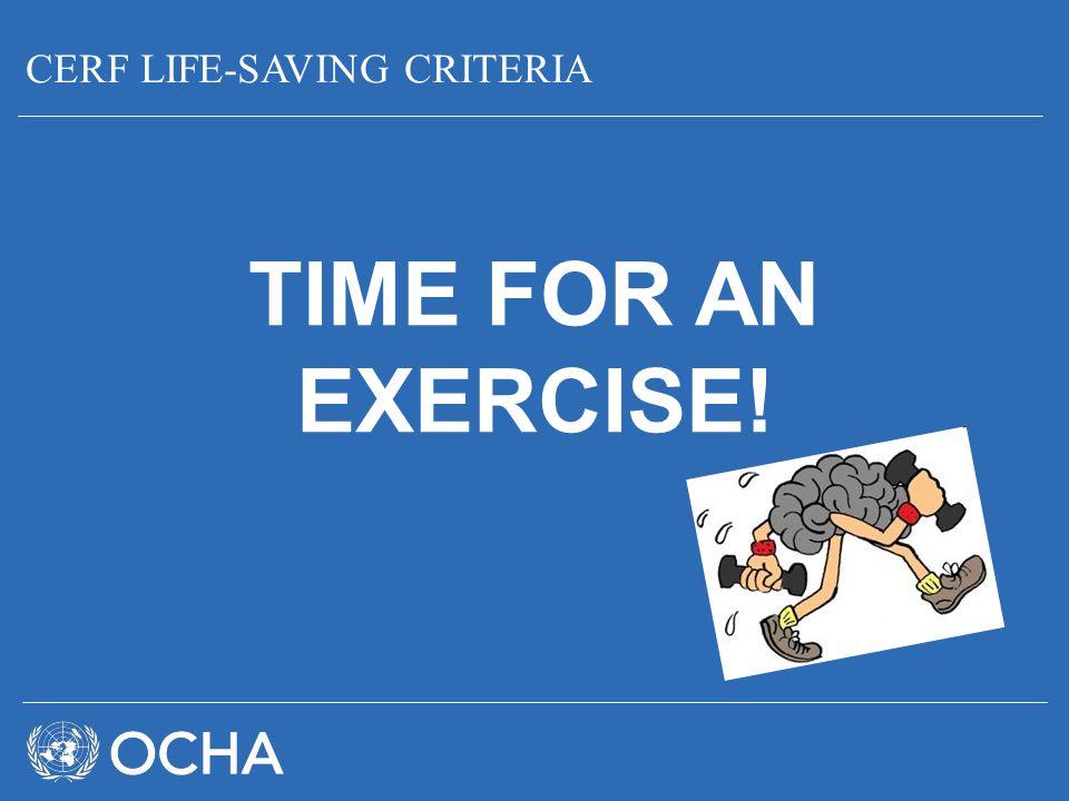 CERF LIFE-SAVING CRITERIA