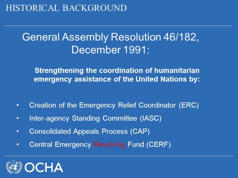General Assembly Resolution 46/182, December 1991: