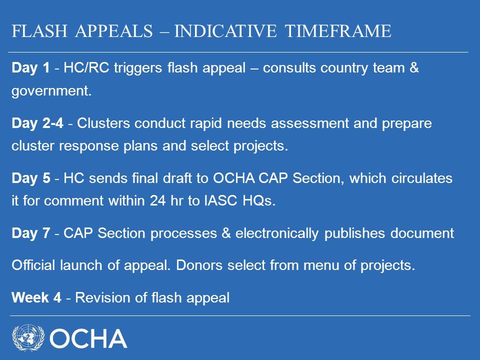 FLASH APPEALS – INDICATIVE TIMEFRAME