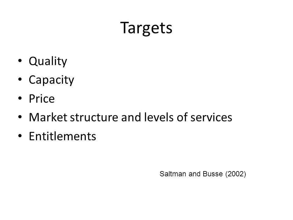 Targets Quality Capacity Price Market structure and levels of services