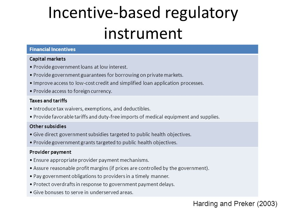 Incentive-based regulatory instrument