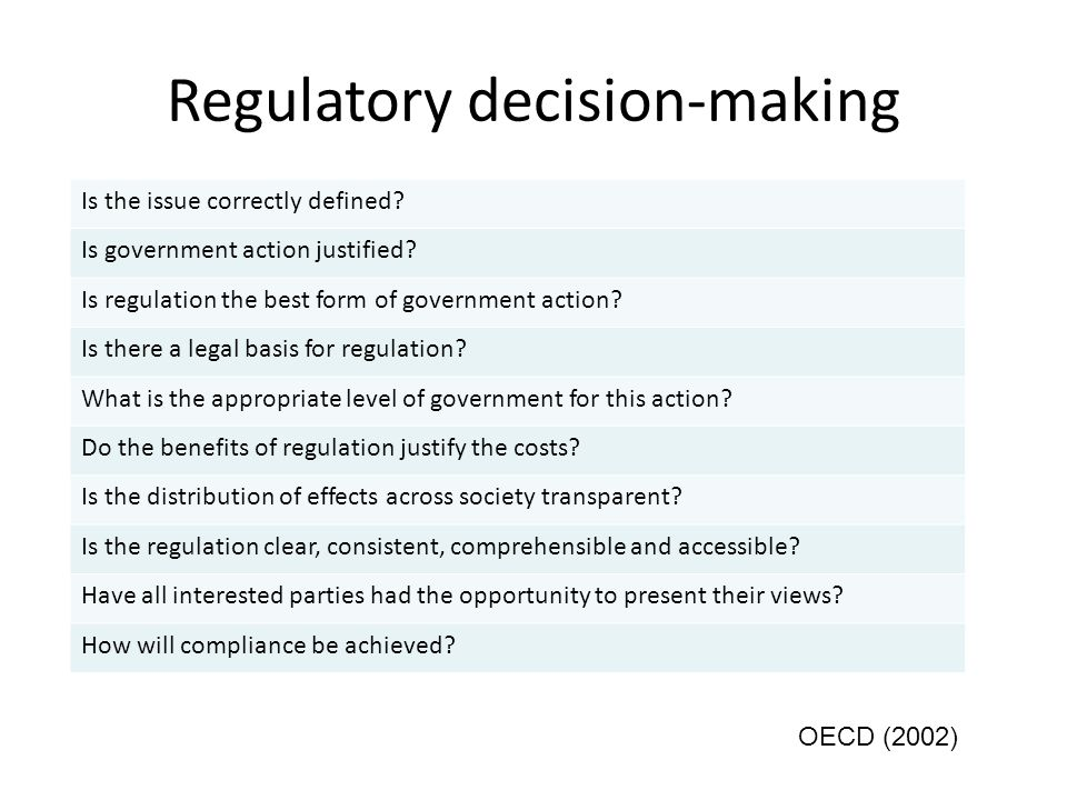 Regulatory decision-making