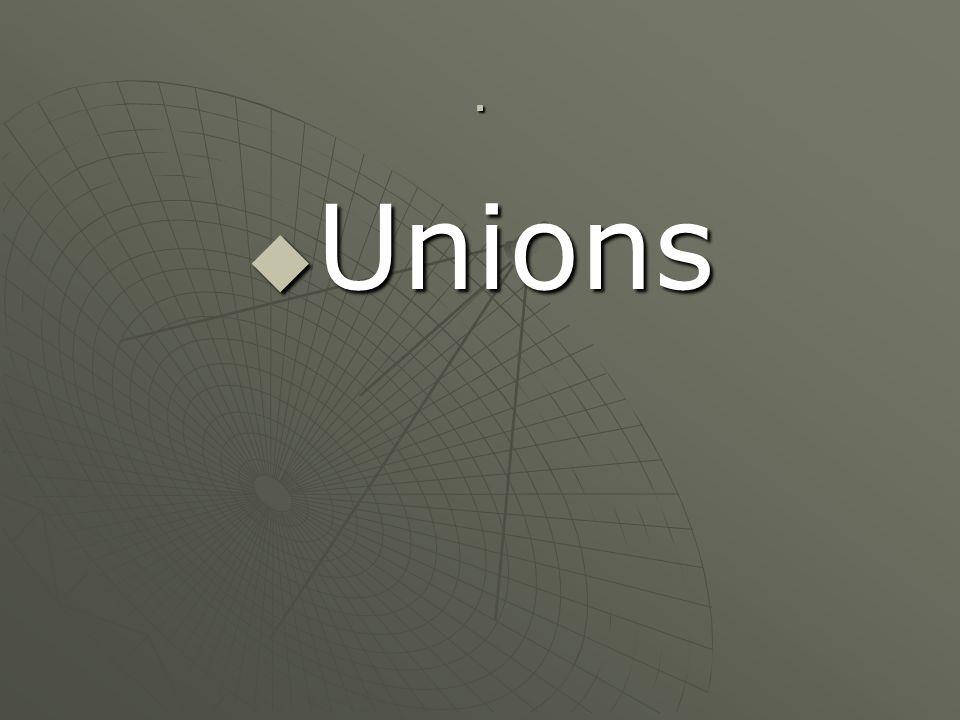 . Unions