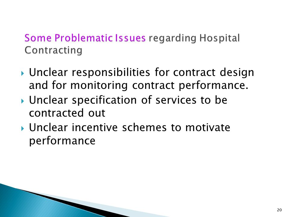 Some Problematic Issues regarding Hospital Contracting