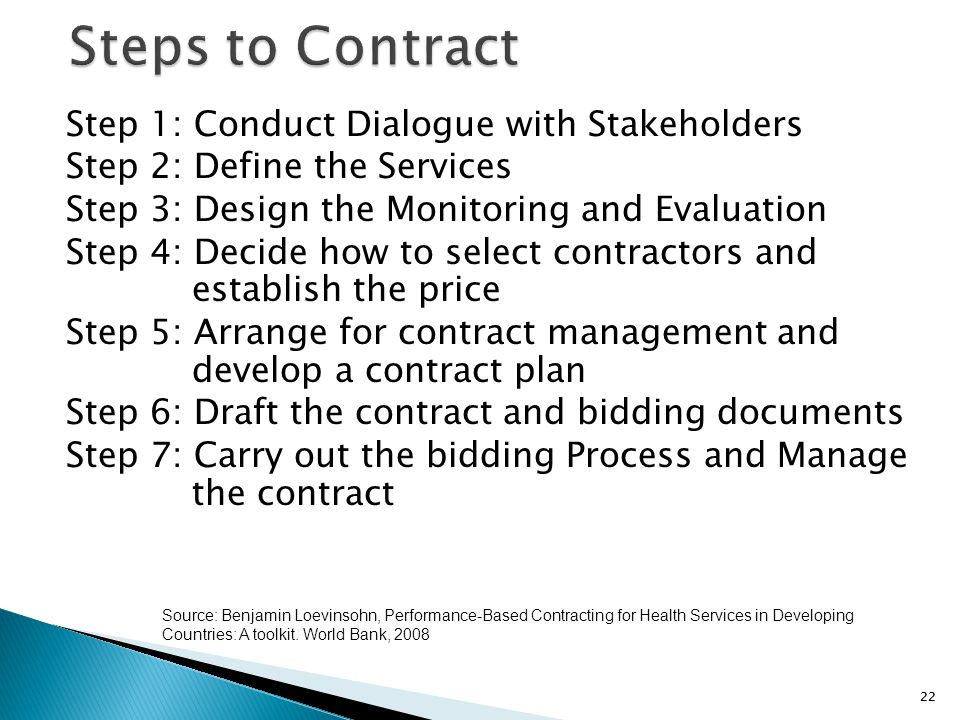 Steps to Contract Step 1: Conduct Dialogue with Stakeholders