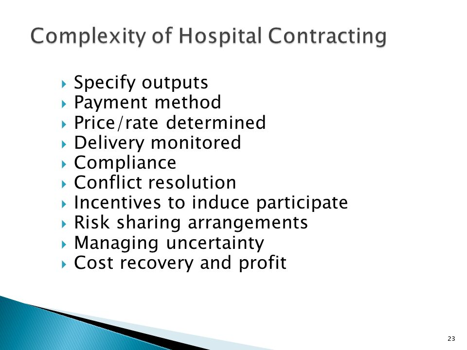 Complexity of Hospital Contracting
