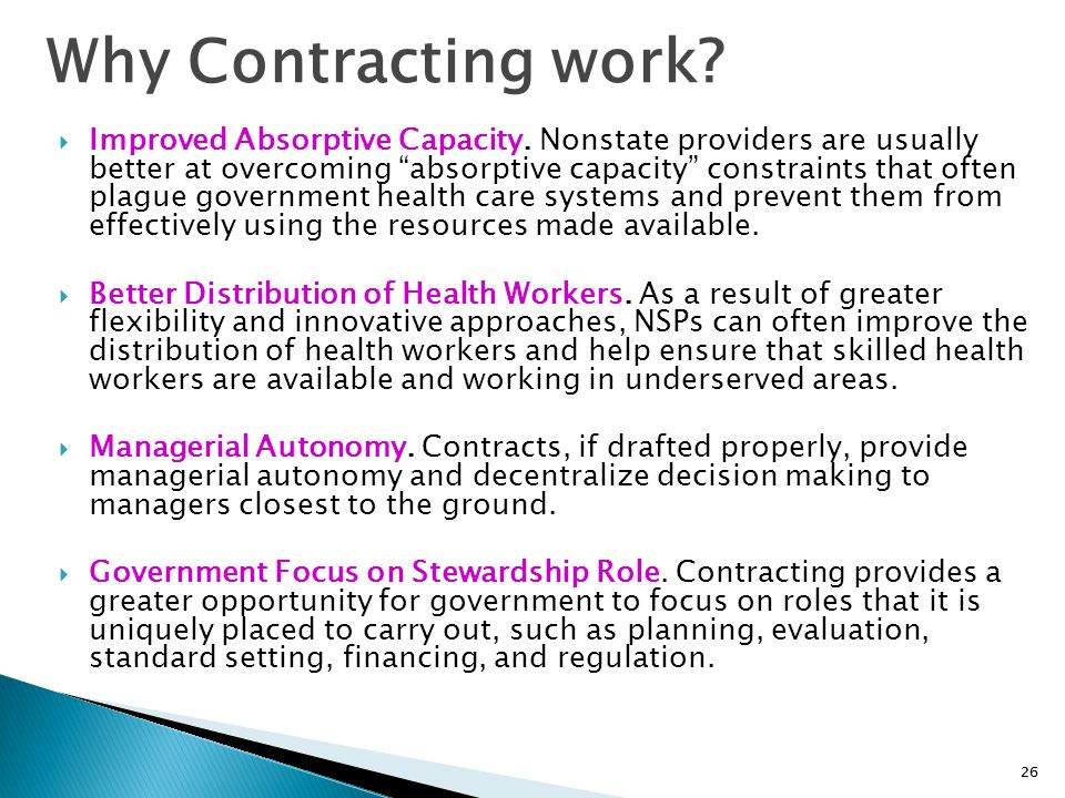 Why Contracting work