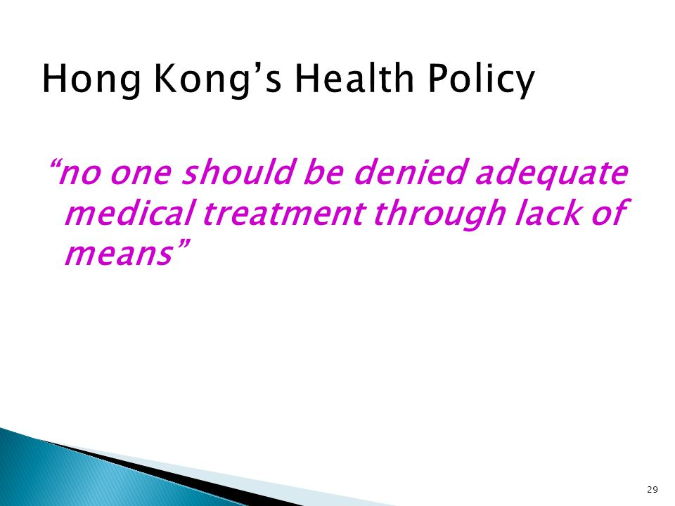Hong Kong's Health Policy