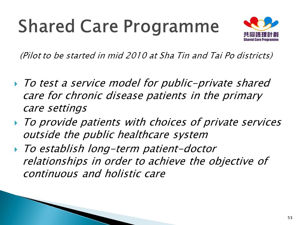 Shared Care Programme (Pilot to be started in mid 2010 at Sha Tin and Tai Po districts)