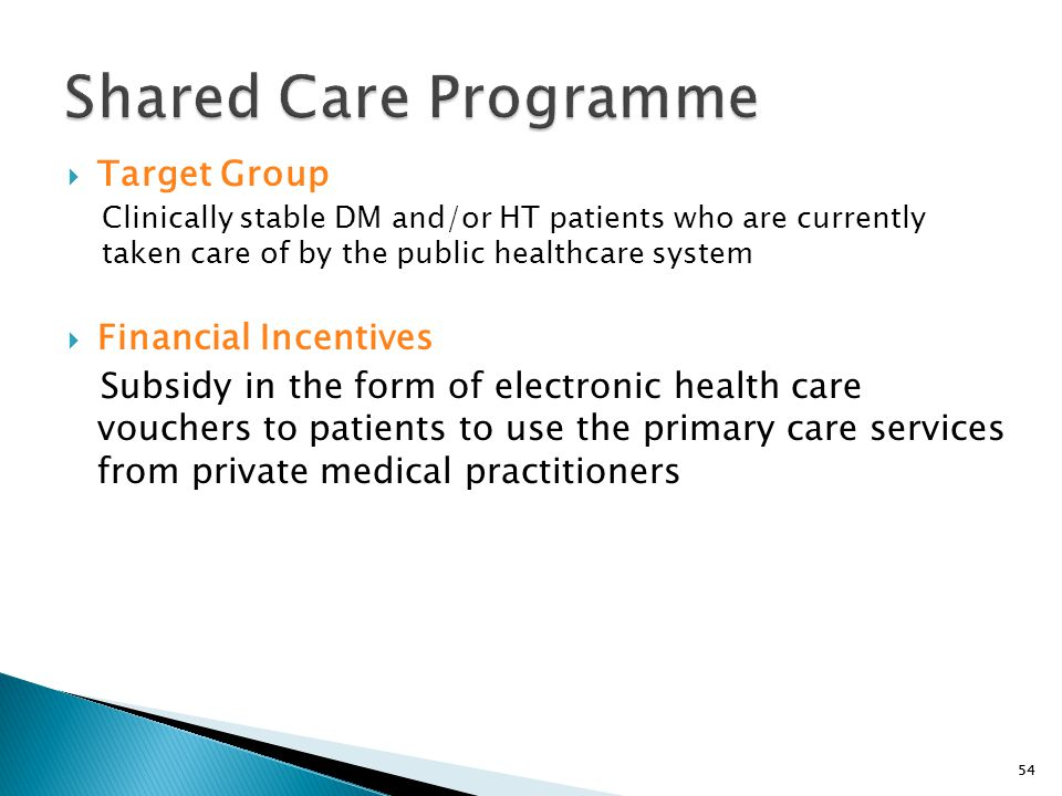 Shared Care Programme Target Group Financial Incentives
