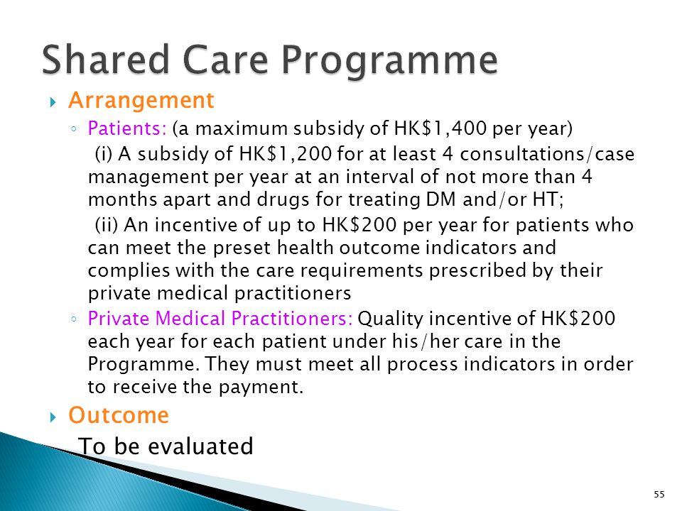 Shared Care Programme Arrangement Outcome To be evaluated