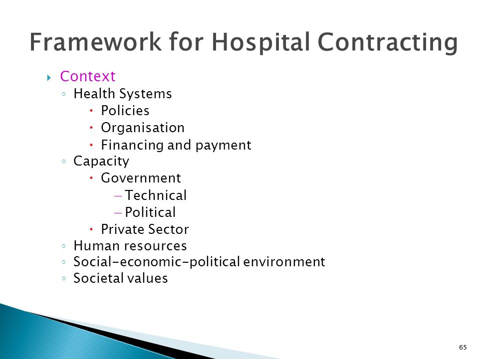 Framework for Hospital Contracting