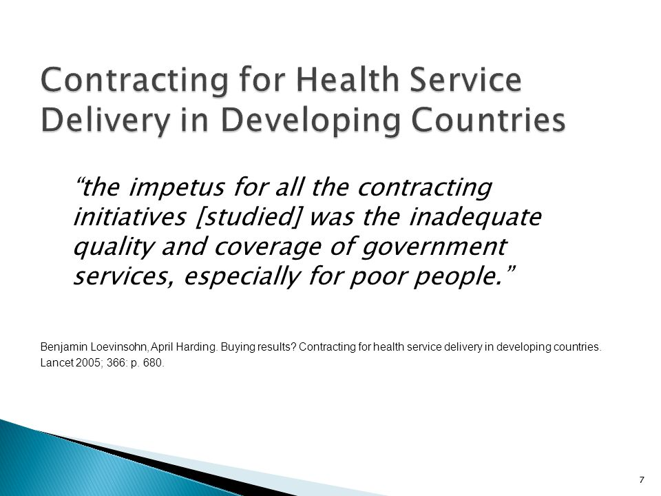 Contracting for Health Service Delivery in Developing Countries